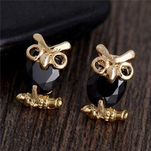 Black Crystal Owl Stud Earrings